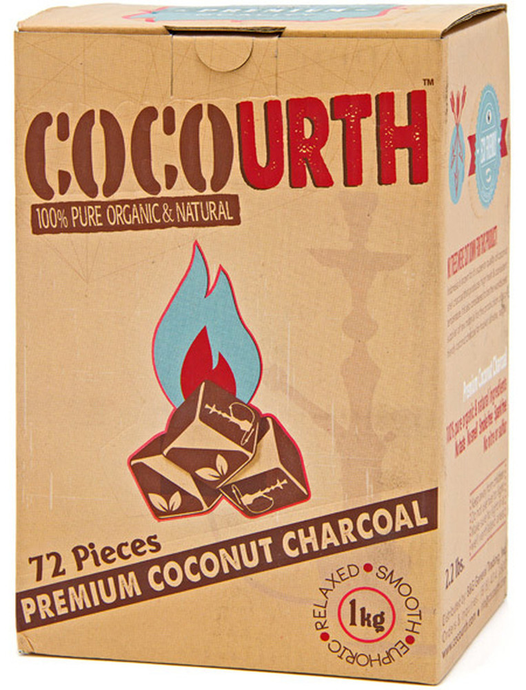 CocoUrth Organic Coconut Charcoal (72 Pieces -Cube)