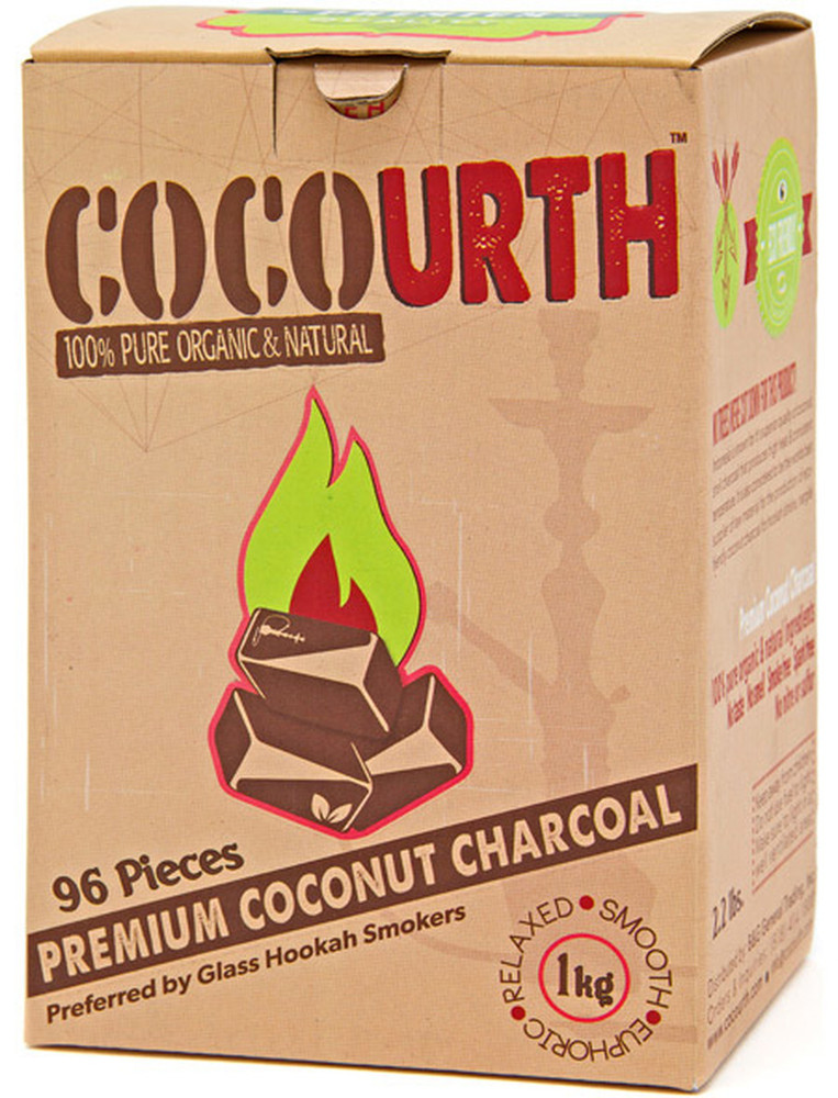 CocoUrth Organic Coconut Charcoal (96 Pieces -Flat)