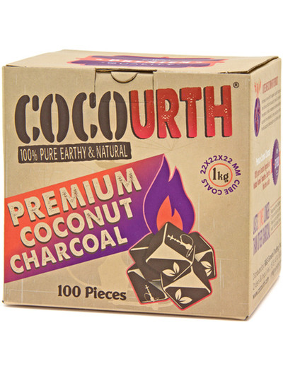 CocoUrth Organic Coconut Charcoal (100 Pieces - Small Cube)