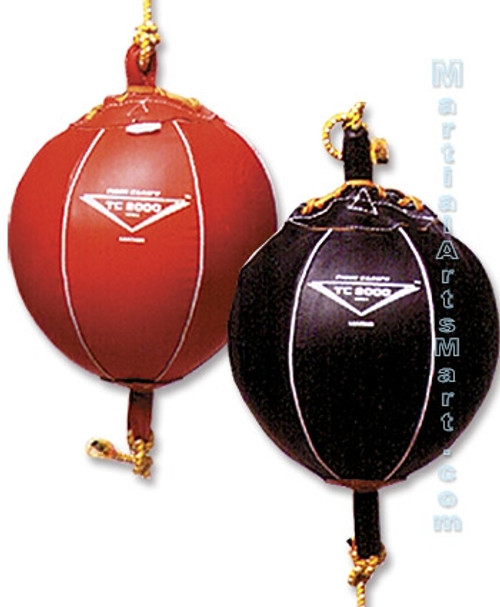 Training Equipment - Black/Red Leather Double End Bag