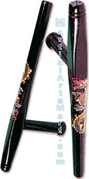 Deluxe Black Okinawan Tonfa with Color Dragon
