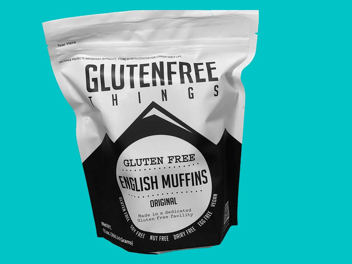 Gluten Free Vegan English Muffins (4-pack) .    #gluten-free, #dairy-free, #egg-free, #soy-free.  We use cornmeal in our English Muffins for texture and that traditional taste that our customers love.  Premium Gluten Free Things Brand English Muffins.