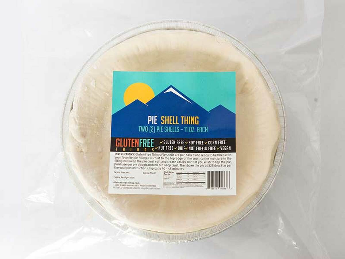 """Gluten Free Things brand pie crust is made in a dedicated gluten free bakery.   Keep a package of two in your freezer for anytime, impromptu desserts. Two 9"""" deep dish gluten-free vegan Pie Shells are par-baked and ready to be filled with your favorite pie filling."""