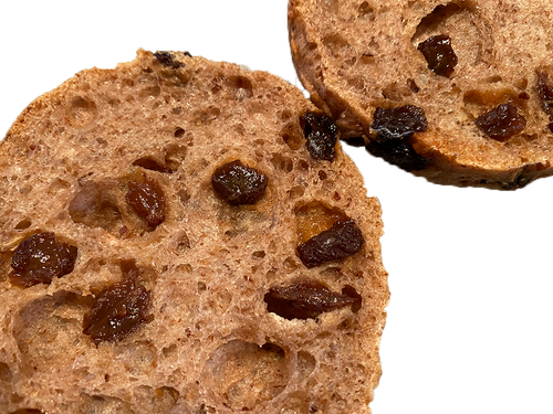 Gluten-free vegan cinnamon raisin bagels, packed with raisins, made in our dedicated gluten free bakery in Arvada, CO U.S.A.