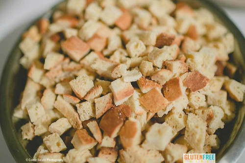 Gluten Free Vegan Croutons for salad topping or make delicious stuffing to pair with chicken, pork and turkey.