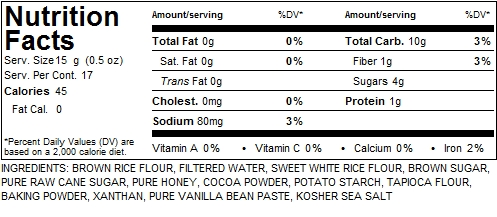 Gluten Free Things Graham Cracker Nutritional Facts - Chocolate