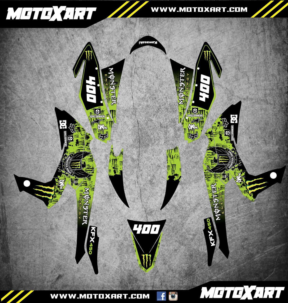 QUAD ATV Full custom graphics kit MONSTER Style Sticker Kit