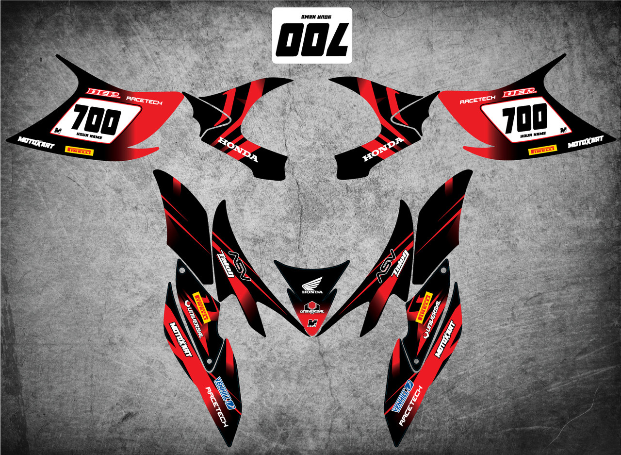 HONDA QUAD ATV Full custom graphics kit THUNDER Style