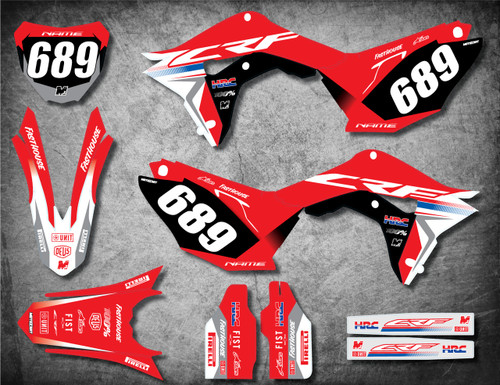 Image shows HONDA CRF 450 2017 2018 2019 model stickers