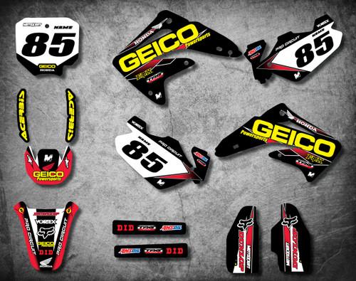 Honda CRF 70/80/100 Full Graphics Kit GEICO Style