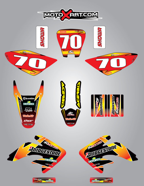 Honda CRF 70/80/100 Full Graphics Kit Sunrise Style
