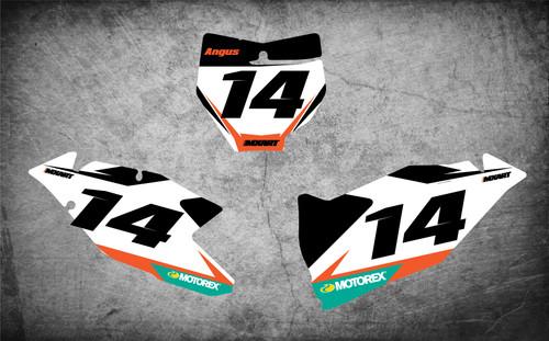 KTM dirt bike stickers Australia, image shows KTM SX KTM SXF 2016 2017 2018 model decal kit, Free shipping Australia wide.