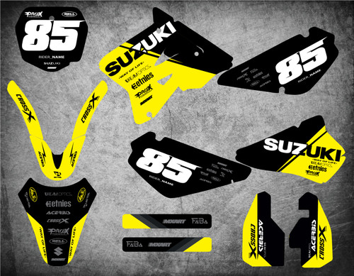 Suzuki RM 85 graphics Australia. Pro quality materials, FREE shipping on all Suzuki RM 85 decals to Australia