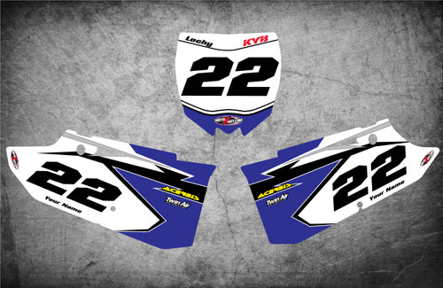 Yamaha Shockwave style number plate graphics kits Australia. Pro grade materials, super fast turnaround, Australias largest supplier of graphics to the motocross industry.