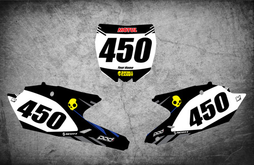 Yamaha RAVAGE style number plate graphics kits Australia. Pro grade materials, super fast turnaround, Australias largest supplier of graphics to the dirt bike industry.
