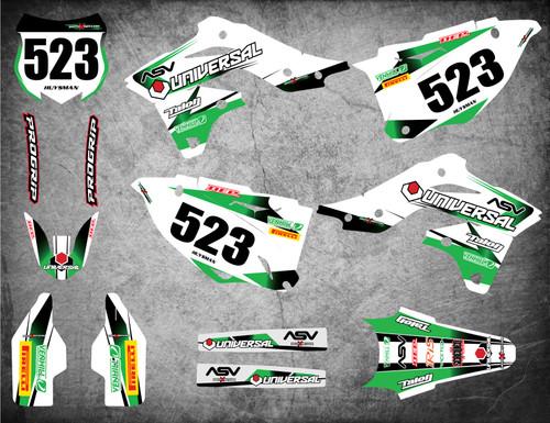 Kawasaki dirt bike decal kits Australia, Premium grade materials, fast turnaround, free shipping on all KX sticker kits in Australia. STORM style.