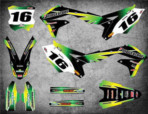 Kawasaki dirt bike graphics kits Australia. Premium quality kawasaki sticker kits. SUNRISE style.