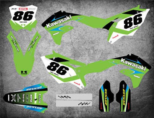Kawasaki KX 65 graphics kits Australia. Premium quality kawasaki sticker kits. POTENT style decals.