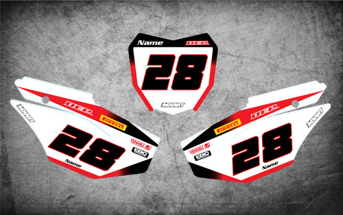 Image shows HONDA CRF 125 2019 2020 style number plate decals number plate stickers Australia