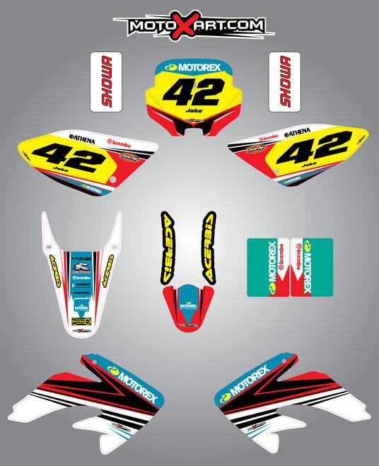 Custom Graphics Full Kit For Honda CRF 80 2004-2010 SHOCKWAVE style stickers