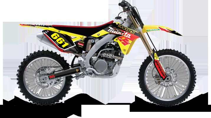 2001-2015 SUZUKI JR80 JR 80 GRAPHICS MOTOCROSS KIT ROCKSTAR WHITE GOLD DECAL