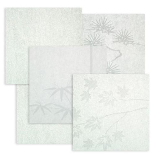 "Basic paper samples 3"" squares White Plain Cloud Dragon Bamboo Pine Maple for shoji screens"