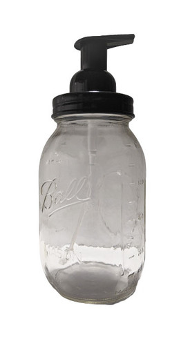 Quart mason jar with foaming soap pump top