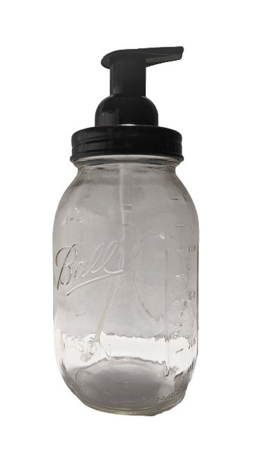 Quart mason jar with foaming soap pump top