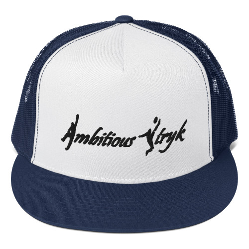 Ambitious Stryk Embroidered Black Logo - Trucker Cap