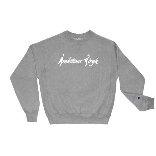 Ambitious Stryk Logo - Champion Sweatshirt - White Print
