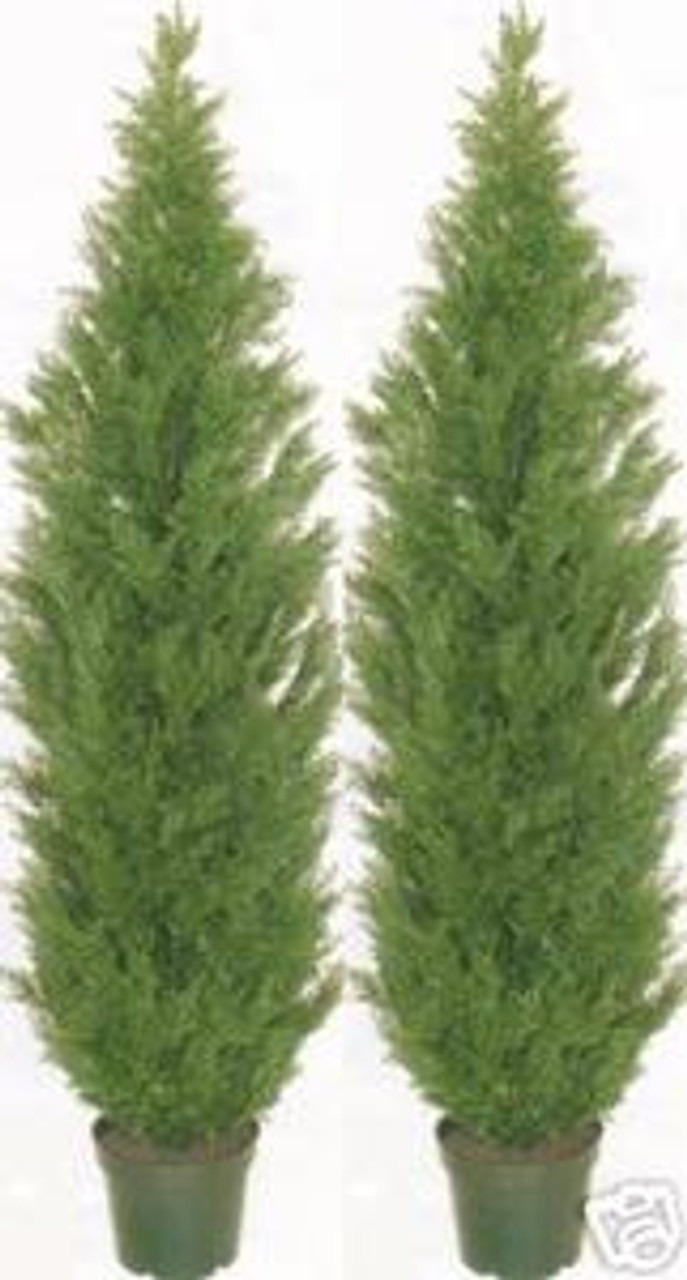 Two 5 Artificial Cedar Trees Faux Topiary Trees