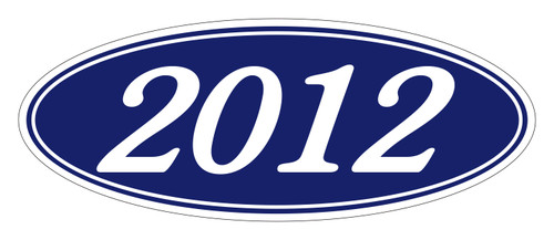 Oval Sticker White on Blue 2012