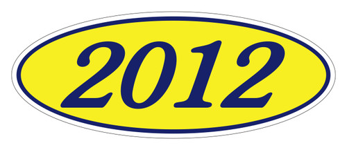 Oval Sticker Navy Blue on Yellow 2012