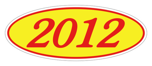 Oval Sticker Red on Yellow 2012