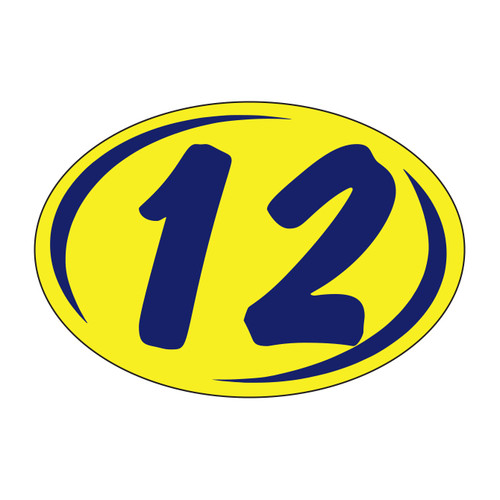 Small Oval Sticker Navy Blue on Yellow '12