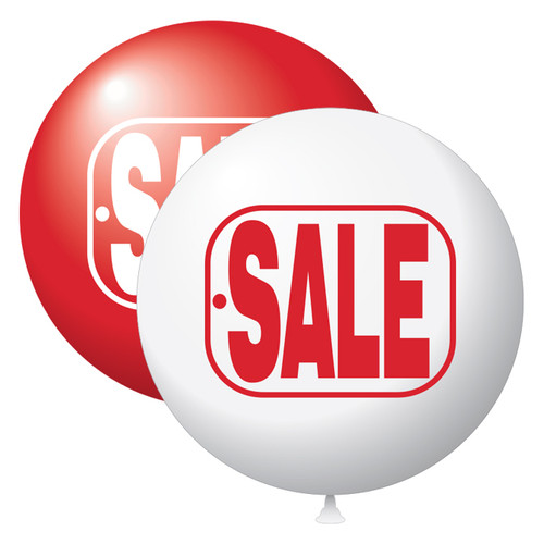 """17"""" Stock Printed Balloon Red and White Sale"""