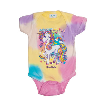 Whimsical Unicorn Tie Dye Onesie