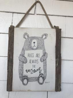 19266-Wood Tree Cutout Bear Sign