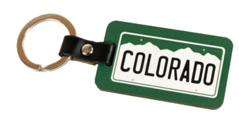 SKC63717: Co License Plate Wooden Look Keychain