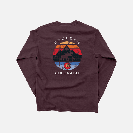 Moose Cut Out In Color Circle Flag LST