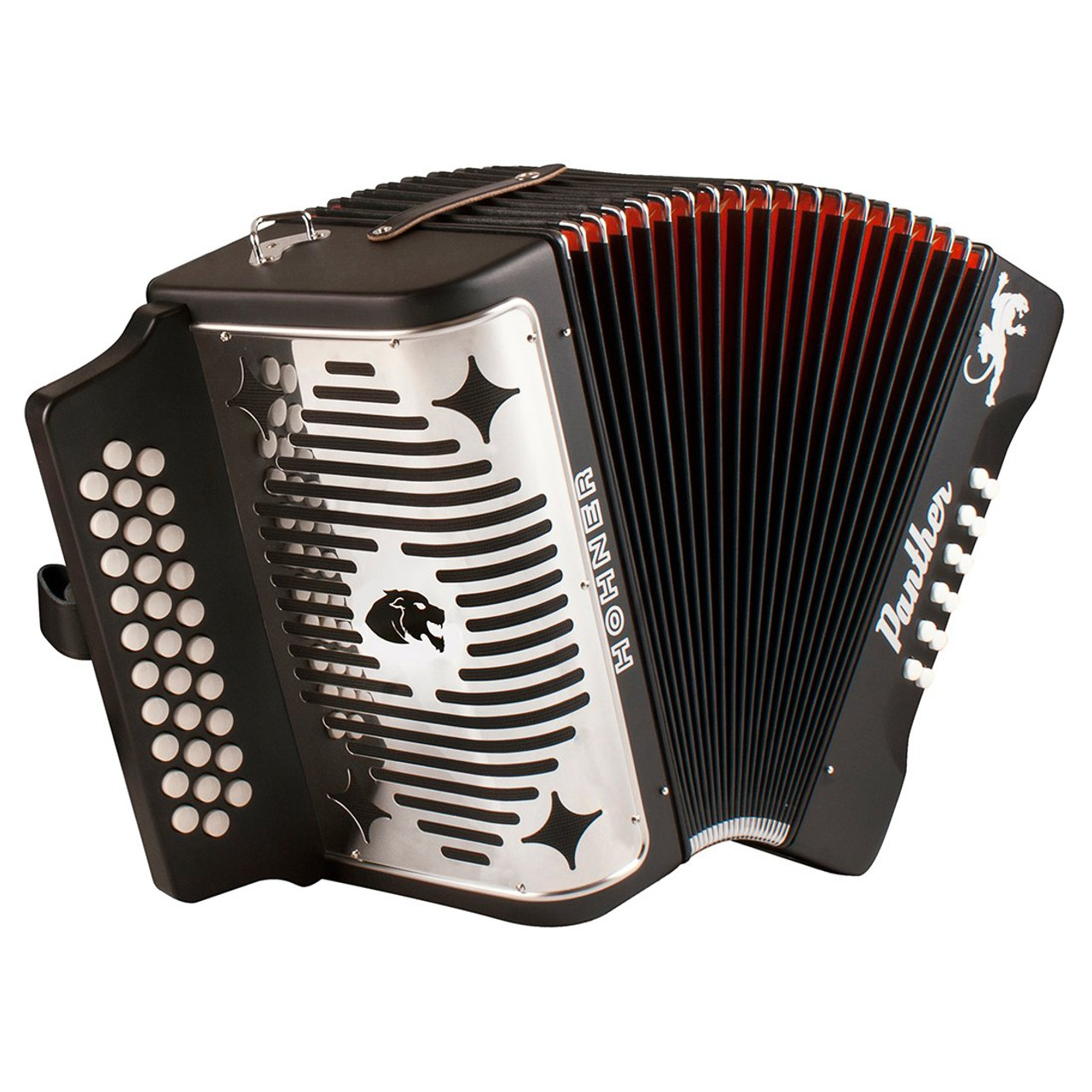 Hohner Panther A4840 F/Bb/Eb 3-row Diatonic Accordion - Black
