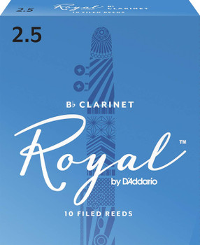 Rico RCB1025 Royal Bb Clarinet Reeds, Strength 2.5, 10-pack
