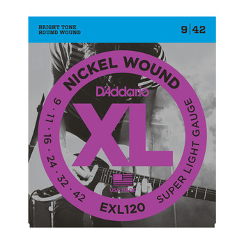 D'Addario EXL120 Nickel Wound Electric Guitar Strings, Super-Light, 09-42