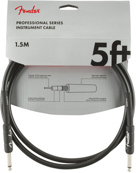Fender 0990820026 Professional Series Instrument Cable, Straight/Straight, 5', Black