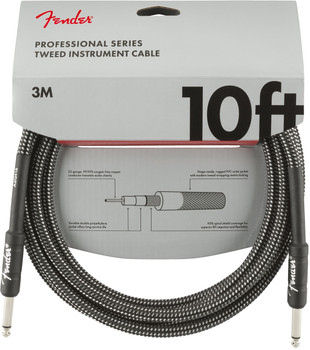 Fender 0990820062 Professional Series Instrument Cables, 10', Gray Tweed