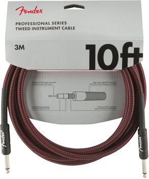 Fender 0990820061 Professional Series Instrument Cables, 10', Red Tweed