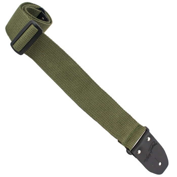 """Henry Heller HCOT2D-GRN 2"""" Cotton W/ Deluxe Sewn Garment Leather Ends Guitar Strap, Green"""