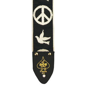 """D'Andrea DN-ACE06 2"""" Ace Vintage Reissue Guitar Strap Peace and Doves - Black & White"""
