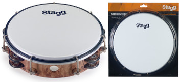 "Stagg TAB-208P/WD 8"" Tunable Plastic Tambourine w/ 2 Rows of Jingles, Wood"