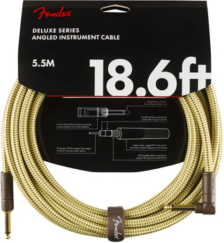 Fender 0990820082 Deluxe Series Instrument Cable, Straight/Angle, 18.6', Tweed